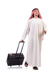 Arab man with luggage. On white Royalty Free Stock Photo