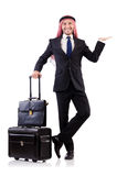 Arab man with luggage. On white Royalty Free Stock Photography