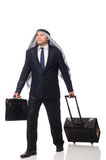 Arab man with luggage on white Royalty Free Stock Photo