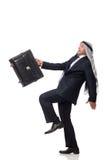 Arab man with luggage on white Stock Image