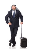 The arab man with luggage on white Royalty Free Stock Photos