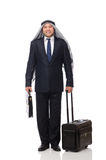 The arab man with luggage on white Royalty Free Stock Image