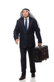 The arab man with luggage on white Royalty Free Stock Photo