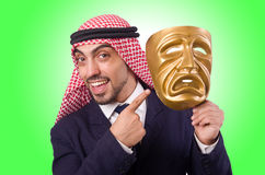 Arab man with mask. On white Royalty Free Stock Image