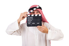 Arab man with movie clapper Stock Image