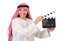 Arab man with movie clapper Royalty Free Stock Photos