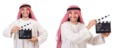 The arab man with movie clapper on white Royalty Free Stock Photos