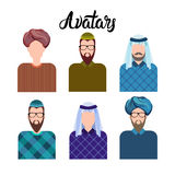 Arab Man, Muslim Arabic Male Profile Icon Set Social Network. Flat Vector Illustration Royalty Free Stock Photos