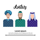 Arab Man, Muslim Arabic Male Profile Icon Set Social Network. Flat Vector Illustration Stock Image