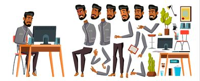 Arab Man Office Worker Vector. Animation Creation Set. Generator. Emotions, Animated Elements. Gestures. Business Human. Muslim In Traditional Clothes. Saudi royalty free illustration
