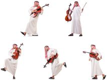 The arab man playing cello isolated on white. Arab man playing cello isolated on white royalty free stock photography