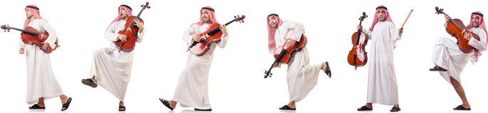 The arab man playing cello isolated on white. Arab man playing cello isolated on white stock photo