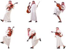 The arab man playing cello isolated on white. Arab man playing cello isolated on white stock image
