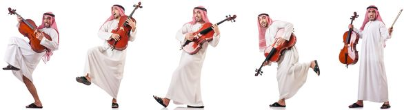 The arab man playing cello isolated on white. Arab man playing cello isolated on white royalty free stock images