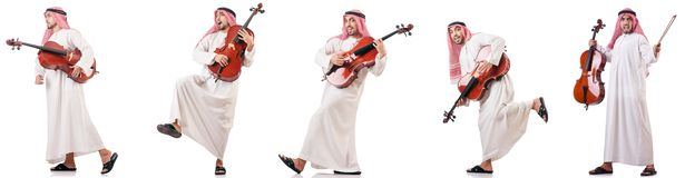 The arab man playing cello isolated on white. Arab man playing cello isolated on white stock images