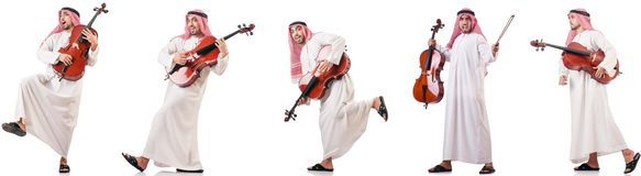 The arab man playing cello isolated on white. Arab man playing cello isolated on white stock photos
