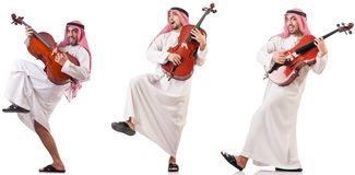 The arab man playing cello isolated on white. Arab man playing cello isolated on white royalty free stock photo