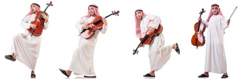 The arab man playing cello isolated on white. Arab man playing cello isolated on white royalty free stock photos