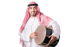 Arab man playing drum isolated Royalty Free Stock Photos