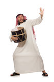 Arab man playing drum isolated on white Royalty Free Stock Photos