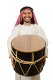 Arab man playing drum isolated on white Stock Images