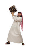 Arab man playing drum isolated on white Stock Photos