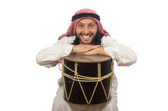 Arab man playing drum isolated on white Stock Photo
