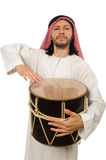 Arab man playing drum isolated on white Royalty Free Stock Photo