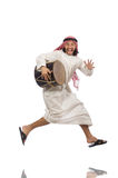 Arab man playing drum isolated on white Stock Photography