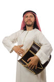 Arab man playing drum isolated on white Stock Image