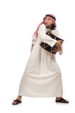 Arab man playing drum isolated on white Royalty Free Stock Images