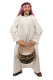 The arab man playing drum isolated on white Royalty Free Stock Image