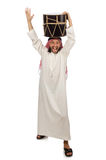 The arab man playing drum isolated on white Stock Photo