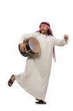 The arab man playing drum isolated on white Stock Images