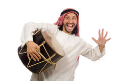 The arab man playing drum isolated on white Royalty Free Stock Photo