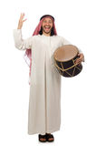The arab man playing drum isolated on white Stock Photography