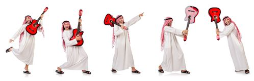 The arab man playing guitar isolated on white Stock Photography