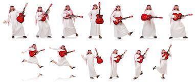 The arab man playing guitar isolated on white Stock Photo