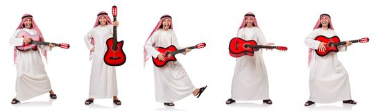 The arab man playing guitar isolated on white Royalty Free Stock Images