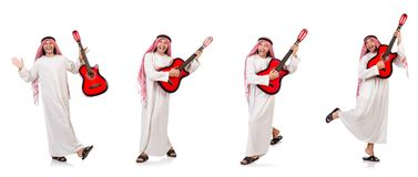 The arab man playing guitar isolated on white Stock Images