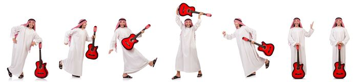 The arab man playing guitar isolated on white Royalty Free Stock Photos