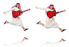 The arab man playing guitar isolated on white Stock Image