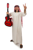Arab man playing isolated on white Stock Images