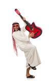 Arab man playing isolated on white Royalty Free Stock Photos