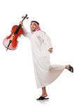 Arab man playing violin isolated Stock Photos