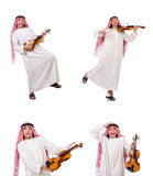 The arab man playing violing on white Stock Images