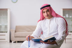 The arab man praying at home Stock Photography