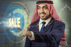 The arab man pressing buttons in sale concept Royalty Free Stock Photos