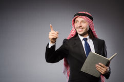 Arab man pressing virtual Royalty Free Stock Photos