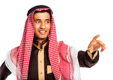 Arab man pressing virtual button on white Stock Image